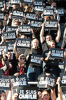 Philippe SAINT ANDRE - Hommage Charlie Hebdo - 10.01.2015 - Toulon / Racing Metro - 16e journee Top 14<br />