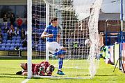 Macclesfield Town defender Theo Vassell score a goal during the EFL Sky Bet League 2 match between Macclesfield Town and Crawley Town at Moss Rose, Macclesfield, United Kingdom on 7 September 2019.