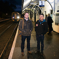 John Argo (left) and fellow traveller Pat Ruddy pictured at ScotRail's Dunkeld & Birnam railway station as the 07.39 train to Edinburgh pulls into the platform…01.12.16<br />Picture by Graeme Hart.<br />Copyright Perthshire Picture Agency<br />Tel: 01738 623350  Mobile: 07990 594431