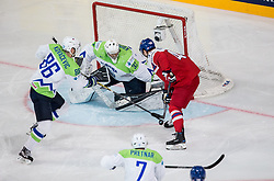 Jan Kovar of Czech Republic vs Sabahudin Kovacevic of Slovenia and Gasper Kroselj of Slovenia during the 2017 IIHF Men's World Championship group B Ice hockey match between National Teams of Czech Republic and Slovenia, on May 12, 2017 in AccorHotels Arena in Paris, France. Photo by Vid Ponikvar / Sportida