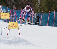 Chris Henery of McCall, Idaho launches off the jump of the Classic course Friday morning during the US Telemark Championships at Gunstock Mountain Resort.  Racing will continue through the weekend on the Tiger slope.  (Karen Bobotas/for the Laconia Daily Sun)