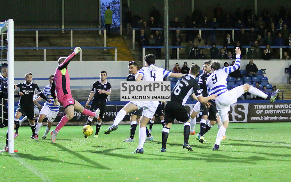 Mortons number (9) Denny Johnstone scores Mortons Second during the Morton v Queen of the South Scottish Championship 14  November 2015 <br /> <br /> (c) Andy Scott | SportPix.org.uk