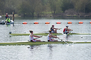 Caversham. Berkshire. UK<br /> Leander's Fiona GAMMOND [Bow} and Katherine DOUGLAS, out front with 600m to going in their Semi Final A/B1 ofthe Women's Pair.<br /> 2016 GBRowing U23 Trials at the GBRowing Training base near Reading, Berkshire.<br /> <br /> Tuesday  12/04/2016<br /> <br /> [Mandatory Credit; Peter SPURRIER/Intersport-images]