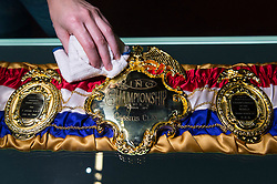 © Licensed to London News Pictures. 03/03/2016. A replica belt worn by Muhammed Ali after he won a fight against  Sonny Liston in 1964. The belt features in the  I Am The Greatest  - Muhammad Ali Exhibition.  Exhibition featuring more than 100 artefacts from the boxer's career, put together with the help of the Ali family, showcased to celebrate the life of the former heavyweight champion giving an insight into one of the sport's most famous personalities. London, UK. Photo credit: Ray Tang/LNP