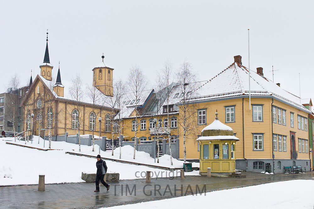 Street scene in Tromsoya, Tromso,  Arctic Circle in Northern Norway