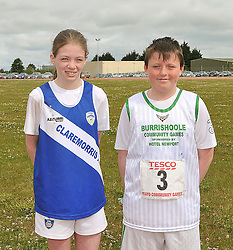 Louise King from Claremorris and Matthew Dillane from Burrischoole read out the Community games pledge at the start of the Mayo finals that took place in Clarmorris.<br /> Pic Conor McKeown