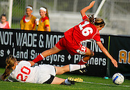 29 MAY 2010 -- FENTON, Mo. -- Incarnate Word Academy's Megan Herrington (16) deflects a shot by Cor Jesu Academy's Cassie Sperruzza (20) in the second half during the MSHSAA Class 3 girls' soccer quarterfinal at the A-B Center in Fenton, Mo. Saturday, May 29, 2010. CJA won, 1-0, in overtime. Photo © copyright 2010 by Sid Hastings.