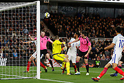 John Souttar of Scotland clears the ball during the U21 UEFA EURO first qualifying round match between England and Scotland at the Riverside Stadium, Middlesbrough, England on 6 October 2017. Photo by Paul Thompson.