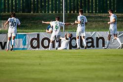 Players of team Zavrc during football match between NK Triglav Kranj and Zavrc 3nd Round of Prva Liga, on 28 July, 2013, in Sportni center, Kranj, Slovenia. (Photo by Grega Valancic / Sportida)