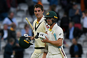 Match drawn - Pat Cummins of Australia and Travis Head of Australia walk of the field at the end of play with the match a draw during the International Test Match 2019 match between England and Australia at Lord's Cricket Ground, St John's Wood, United Kingdom on 18 August 2019.