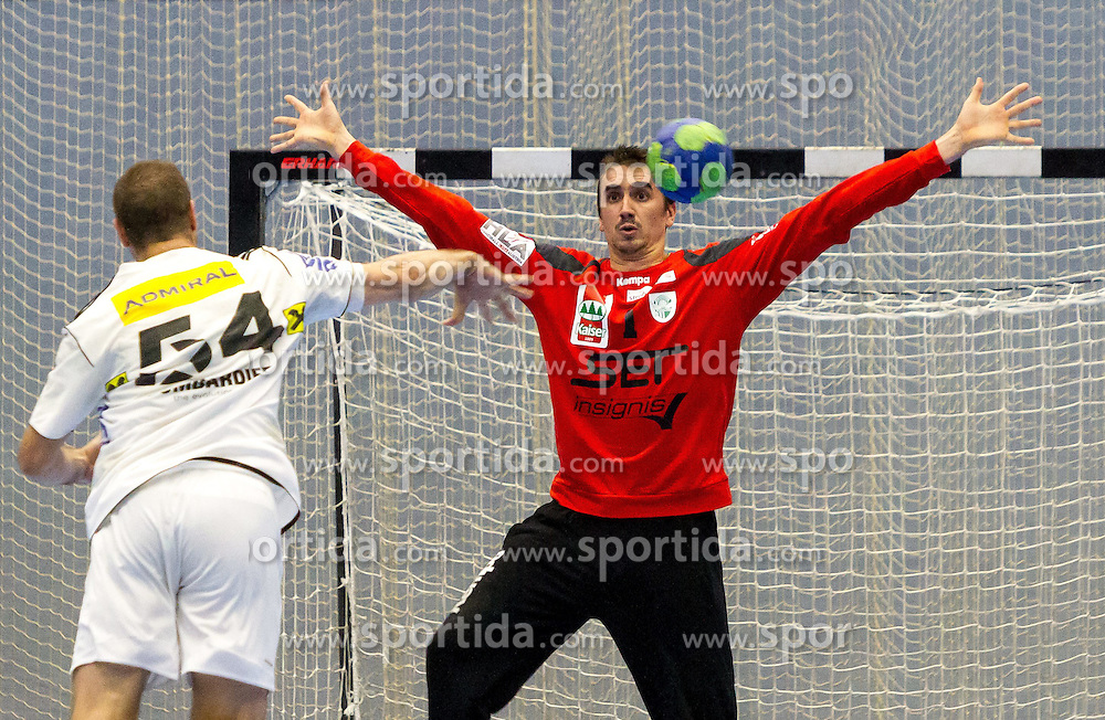11.10.2014, BSFZ Suedstadt, Maria Enzersdorf, AUT, HLA GD, SG West Wien vs Bregenz Handball , im Bild Vytautas Ziura (Fivers WAT Margareten), Sandro Uvodic (SG West Wien)// during the Handball League Austria Match between SG West Wien and Fivers WAT Margareten at the BSFZ Suedstadt, Maria Enzersdorf, Austria on 2014/10/11, EXPA Pictures © 2014, PhotoCredit: EXPA/ Sebastian Pucher