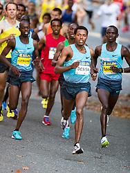 Boston Athletic Association Half Marathon; eventual winner Lelisa Desisa, Ethiopia, leads early in race over Allan Kiprono and Stephen Sambu