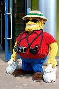 Lego tourist, Legoland theme park with lego model village, rides, gold panning, car racing Windsor, UK