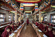 the monks of the first year, learning to read and to write at the Royal School of Astrology in Thimphu degree course of 7 years with more than 116 students