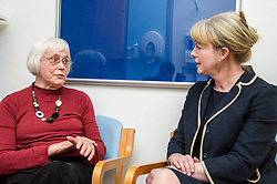 Pictured: Shona Robison met patient Margo Arnott about the setvices available via the district nurse system<br /> <br /> Under pressure Health Secretary Shona Robison visited the Healthy Living Centre in Edinburgh's Wester Hailes today and annnounced details of funding for nurse training to expand community care. <br /> <br /> Ger Harley | EEm 30 April 2018