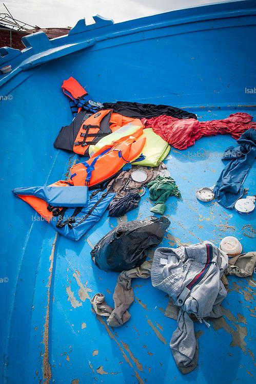 Lampedusa, Sicilia, ott 2013. Lampedusa Island, Sicily, Italy, oct 2013. I relitti delle barche dei migranti. wrecks of boats of migrants.