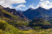 Ski resorts El Pueyo de Jaca and (beyond) Panticosa in landscape of Valle de Tena in the Pyrenees in Aragon, Northern Spain