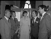 C.D.P. Reception At Slane Castle.    (M62)..1979.27.03.1979..03.27.1979..27th March 1979..Group picture taken at the C.D.P.reception at Slane Castle against a backdrop with Doric Colours.