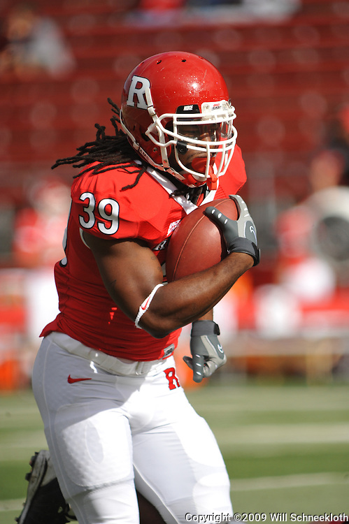 Oct 10, 2009; Piscataway, NJ, USA; Rutgers running back Jourdan Brooks (39) runs the ball during warmups for NCAA college football between Rutgers and Texas Southern at Rutgers Stadium.