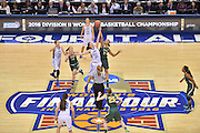 April 4, 2016; Indianapolis, Ind.; Megan Mullings battles for the opening jump ball in the NCAA Division II Women's Basketball National Championship game at Bankers Life Fieldhouse between UAA and Lubbock Christian. The Seawolves lost to the Lady Chaps 78-73.