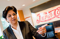 21 July, 2008. Purchase, NY. Indra Nooyi, 52, chairwoman and chief executive officer of PepsiCo, is here in her office at the PepsiCo World Headquarters. She was named the CEO of PepsiCo on August 14 2006, becoming the fifth CEO in PepsiCo's 42-year history. <br /> ©2008 Gianni Cipriano for The Wall Street Journal<br /> cell. +1 646 465 2168 (USA)<br /> cell. +1 328 567 7923 (Italy)<br /> gianni@giannicipriano.com<br /> www.giannicipriano.com