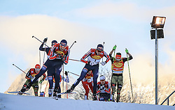 19.12.2015, Nordische Arena, Ramsau, AUT, FIS Weltcup Nordische Kombination, Langlauf, im Bild v. l: Magnus Moan (NOR), Jarl Magnus Riiber (NOR), Fabian Riessle (GER) // Magnus Moan of Norway, Jarl Magnus Riiber of Norway, Fabian Riessle of Germany during Cross Country Competition of FIS Nordic Combined World Cup, at the Nordic Arena in Ramsau, Austria on 2015/12/19. EXPA Pictures © 2015, PhotoCredit: EXPA/ Martin Huber