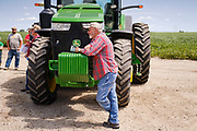 "06 AUGUST 2020 - FAIRFIELD, IOWA: A man leans against a John Deere tractor during the auction on the Adam Farm near Fairfield. Gary Adam, 72 years old, has been farming in the Fairfield area since 1971. He decided to retire this year because he wants to travel and because it's so difficult to make money in farming this year. He said he wants to ""shed the risk and responsibility. If things were super good, like they were 2006-2012, I might stay in it, but they're not."" An increasing number of farmers in the Midwest are retiring this year as it becomes harder to make money on crops. In addition to low prices, Iowa farmers are being hit with a drought this year, with well below average rain over most of the state. Because of the COVID-19 pandemic, the auction on Adam's farm was one of the first live in person auctions since winter. Most auctions are now done on line.     PHOTO BY JACK KURTZ"