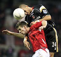 Photo: Pete Lorence.<br />Nottingham Forest v Charlton Athletic. The FA Cup. 06/01/2007.<br />Jonathan Fortune clears the ball from Scott Dobie.