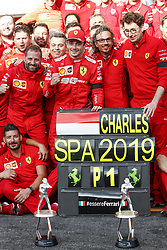 September 1, 2019, Spa-Francorchamps, Belgium: Motorsports: FIA Formula One World Championship 2019, Grand Prix of Belgium, ..Team of Scuderia Ferrari Mission Winnow celebrates first victory of #16 Charles Leclerc (MCO, Scuderia Ferrari Mission Winnow), Laurent Mekies (FRA, Scuderia Ferrari Mission Winnow), Mattia Binotto (ITA, Scuderia Ferrari Mission Winnow) (Credit Image: © Hoch Zwei via ZUMA Wire)