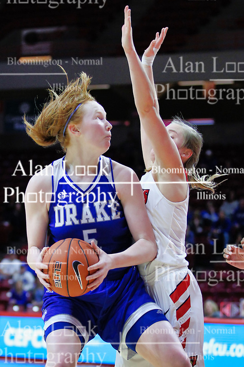 NORMAL, IL - January 06: Becca Hittner guarded by Paige Saylor during a college women's basketball game between the ISU Redbirds and the Drake Bulldogs on January 06 2019 at Redbird Arena in Normal, IL. (Photo by Alan Look)