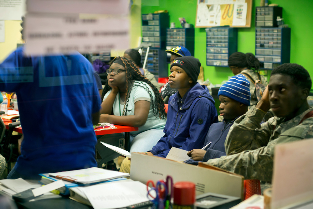 NOVEMBER, 16, 2017 - NOVEMBER, 16, 2017 - NORTH CHARLESTON, S.C.- Metanoia Youth Leadership Academy students discuss leaders in African American culture during class at the school. (BNG/Stephen B. Morton)