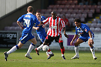 Photo: Pete Lorence.<br />Lincoln City v Stockport County. Coca Cola League 2. 07/04/2007.<br />The Stockport defence prevented Junior Mendes from scoring.