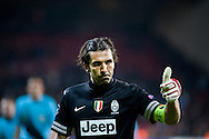 23.10.12. Copenhagen, Denmark. UEFA Champions League Group E, FC Nordsjaelland  1 vs Juventus 1 at the Parken Stadium. Goalkeeper Buffon of Juventus after the game. Photo: © Ricardo Ramirez.