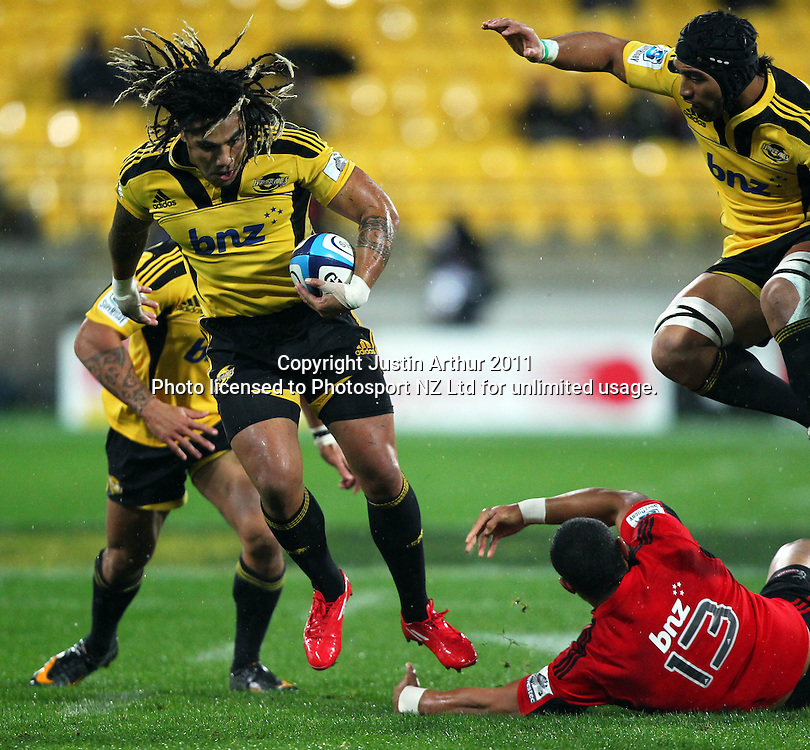 Ma'a Nonu on the attack for the Hurricanes .Super15 rugby union match - Crusaders v Hurricanes at Westpac Stadium, Wellington, New Zealand on Saturday, 18 June 2011. Photo: Justin Arthur / photosport.co.nz