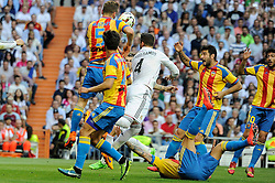 09.05.2015, Estadio Santiago Bernabeu, Madrid, ESP, Primera Division, Real Madrid vs FC Valencia, 36. Runde, im Bild Real Madrid&acute;s Sergio Ramos and Valencia&acute;s Shkodran Mustafi // during the Spanish Primera Division 36th round match between Real Madrid CF and Valencia FC at the Estadio Santiago Bernabeu in Madrid, Spain on 2015/05/09. EXPA Pictures &copy; 2015, PhotoCredit: EXPA/ Alterphotos/ Luis Fernandez<br /> <br /> *****ATTENTION - OUT of ESP, SUI*****