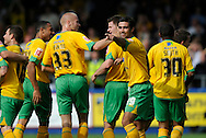 Hartlepool - Saturday August 29th, 2009: Norwich City celebrate their opening goal scored by Michael Nelson (behind Simon Lappin, 19), during the Coca Cola League One match at Victoria Park, Hartlepool. (Pic by Jed Wee/Focus Images)..