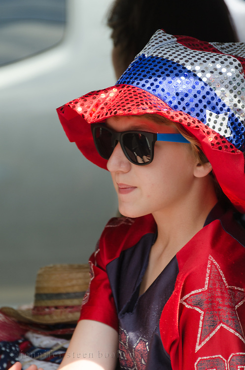BAR HARBOR, MAINE, July 4, 2014. A young rider in the Independence Day Parade