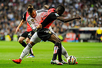 Real Madrid´s Jese Rodriguez and Almeria's Thomas Paty during 2014-15 La Liga match between Real Madrid and Almeria at Santiago Bernabeu stadium in Madrid, Spain. April 29, 2015. (ALTERPHOTOS/Luis Fernandez)