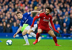 LIVERPOOL, ENGLAND - Sunday, March 3, 2019: Liverpool's Mohamed Salah (R) and Everton's Lucas Digne during the FA Premier League match between Everton FC and Liverpool FC, the 233rd Merseyside Derby, at Goodison Park. (Pic by Paul Greenwood/Propaganda)