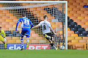 Michael O'Connor scores for Port Vale 2-0 during the Sky Bet League 1 match between Port Vale and Rochdale at Vale Park, Burslem, England on 23 April 2016. Photo by Daniel Youngs.