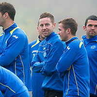 St Johnstone Training....01.11.12<br /> Steven MacLean pictured during a foggy training session at McDiarmid Park this morning with team mates Davie McCracken, Chris Millar and Callum Davidson<br /> Picture by Graeme Hart.<br /> Copyright Perthshire Picture Agency<br /> Tel: 01738 623350  Mobile: 07990 594431