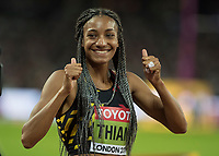 Athletics - 2017 IAAF London World Athletics Championships - Day Three, Evening Session<br /> <br /> Womens Heptathlon 800m<br /> <br /> Nafissatou Thiem (Belguim) celebrates winning the Silver medal  at the London Stadium<br /> <br /> COLORSPORT/DANIEL BEARHAM