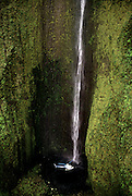 Waterfall with helicopter, Maui, Hawaii