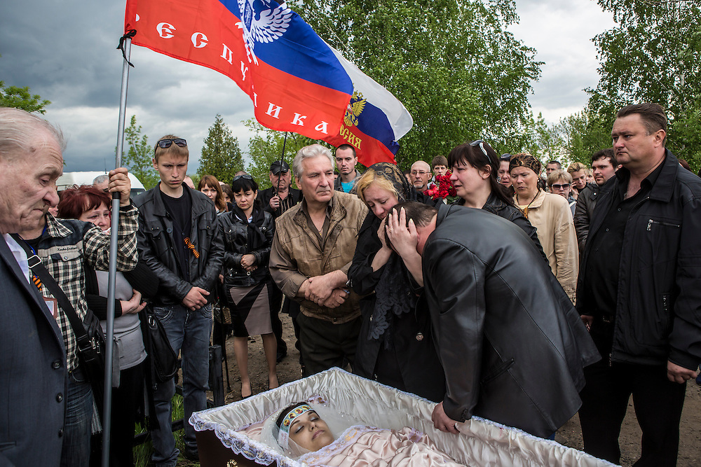 The funeral of Yulia Izotova, a 21-year-old nurse who was killed in fighting between pro-Russian protesters and the Ukrainian military, on May 5, 2014 in Kramatorsk, Ukraine. Cities across Eastern Ukraine have been overtaken by pro-Russian protesters in recent weeks, leading the Ukrainian military to respond with force in some areas.