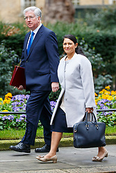 © Licensed to London News Pictures. 21/02/2017. London, UK. Defence secretary MICHAEL FALLON and International Development Secretary PRITI PATEL attend a cabinet meeting in Downing Street, London on Tuesday, 21 February  2017. Photo credit: Tolga Akmen/LNP