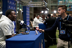 Kenneth Murray #9 of the Oklahoma Sooners speaks with the media at Media Day on Thursday, Dec. 26, in Atlanta. LSU will face Oklahoma in the 2019 College Football Playoff Semifinal at the Chick-fil-A Peach Bowl. (Paul Abell via Abell Images for the Chick-fil-A Peach Bowl)