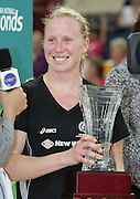 Laura Langman (Captain) receives the trophy for the Silver Ferns as the champions for the 2008 Holden Netball Series - Action from the fourth international Holden Netball Test Series between the Australian Netball Diamonds and the New Zealand Silver Ferns.  Played at the Brisbane Convention Centre (November 2, 2008).  Photo: Warren Keir - SMP IMAGES.  <br /> <br /> Conditions of Use - this image is intended for editorial use only (print or electronic).  For any further use, please contact SMP