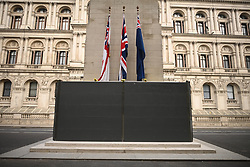 © Licensed to London News Pictures. 12/06/2020. London, UK. A barrier erected around the base of the Cenotaph war memorial on Whitehall, ahead of a Black Lives Matter demonstration In Parliament Square, central London. Black Lives Matter have called for the removal of statures from throughout the UK of historical characters involved in the salve trade, following the death of George Floyd in the U. S. A . Photo credit: Ben Cawthra/LNP