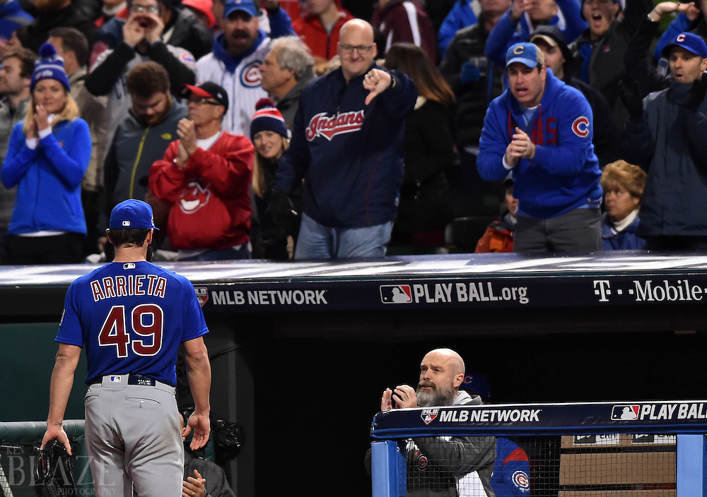 Oct 26, 2016; Cleveland, OH, USA; Chicago Cubs starting pitcher Jake Arrieta (49) walks to the dugout after being relieved against the Cleveland Indians in the 6th inning in game two of the 2016 World Series at Progressive Field. Mandatory Credit: Ken Blaze-USA TODAY Sports
