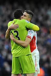 Arsenal's Gabriel Paulista celebrates Arsenal's Tomas Rosicky's goal with Arsenal's David Ospina - Photo mandatory by-line: Dougie Allward/JMP - Mobile: 07966 386802 - 01/03/2015 - SPORT - football - London - Emirates Stadium - Arsenal v Everton - Barclays Premier League